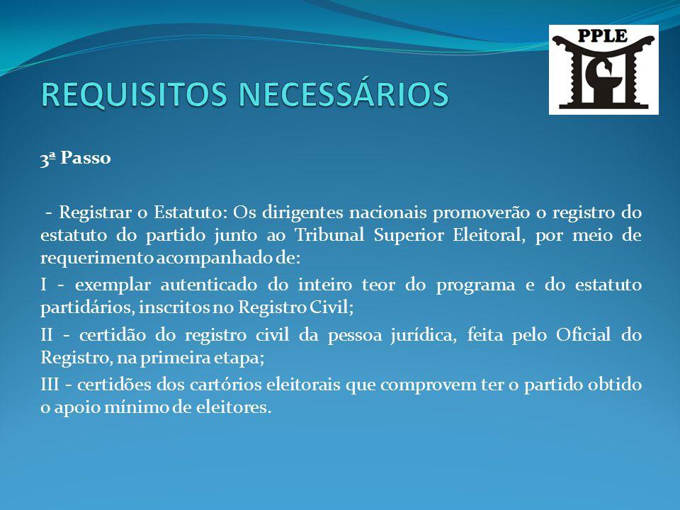 3ª Passo - Registrar o Estatuto: Os dirigentes nacionais promoverão o registro do estatuto do partido junto ao Tribunal Superior Eleitoral, por meio d