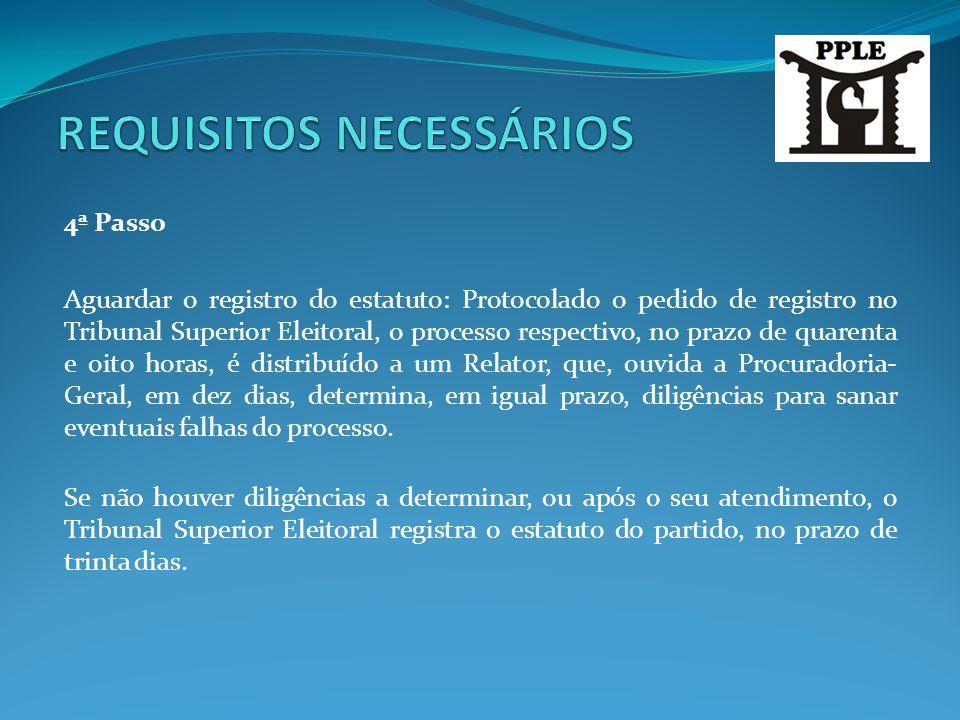 4ª Passo Aguardar o registro do estatuto: Protocolado o pedido de registro no Tribunal Superior Eleitoral, o processo respectivo, no prazo de quarenta