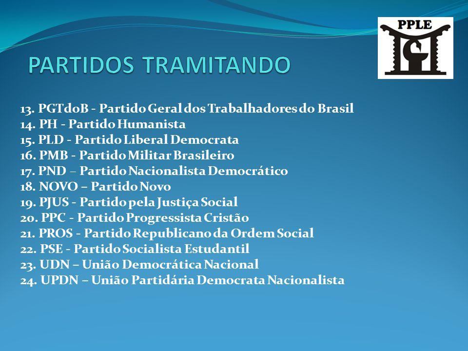 13. PGTdoB - Partido Geral dos Trabalhadores do Brasil 14. PH - Partido Humanista 15. PLD - Partido Liberal Democrata 16. PMB - Partido Militar Brasil
