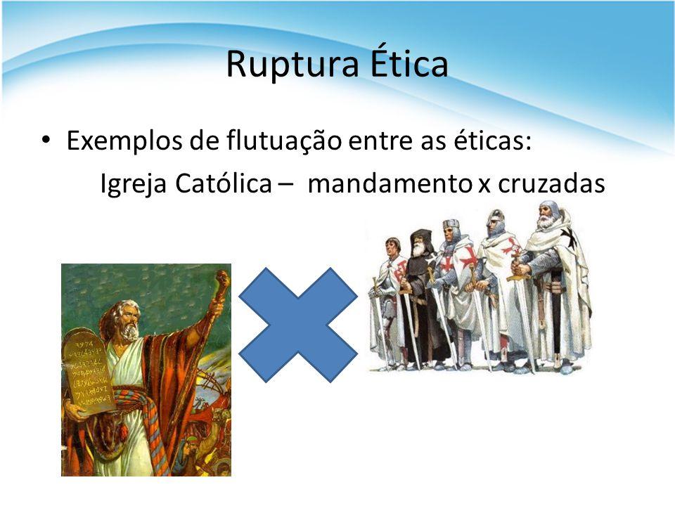 Ruptura Ética Exemplos de flutuação entre as éticas: Igreja Católica – mandamento x cruzadas