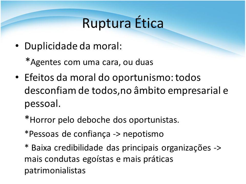 Duplicidade da moral: * Agentes com uma cara, ou duas Efeitos da moral do oportunismo: todos desconfiam de todos,no âmbito empresarial e pessoal. * Ho
