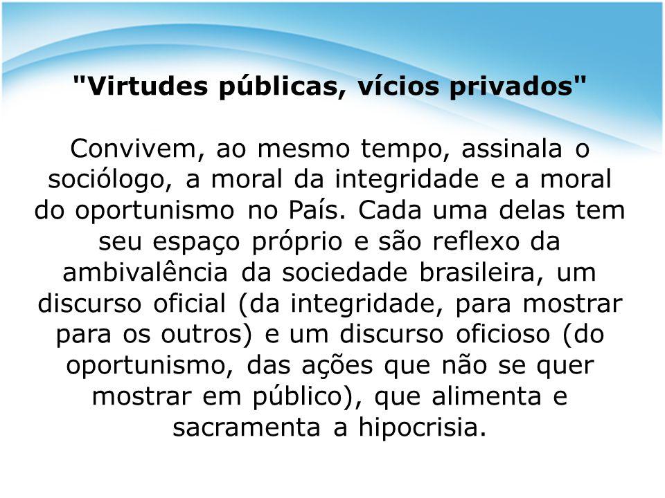 Duplicidade da moral: * Agentes com uma cara, ou duas Efeitos da moral do oportunismo: todos desconfiam de todos,no âmbito empresarial e pessoal.