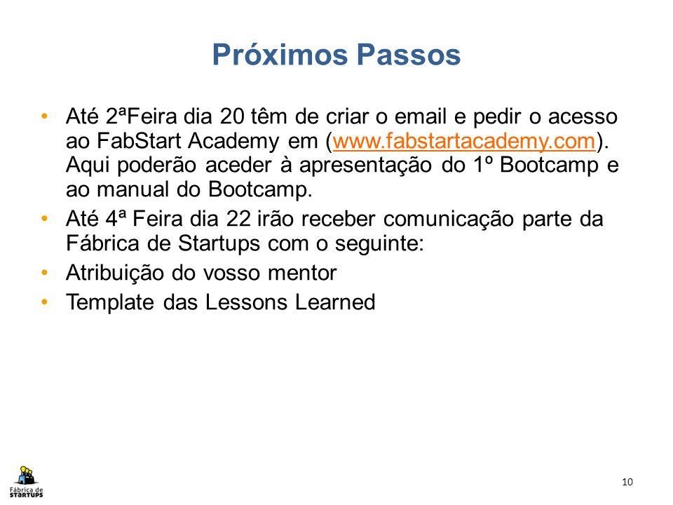 Próximos Passos Até 2ªFeira dia 20 têm de criar o email e pedir o acesso ao FabStart Academy em (www.fabstartacademy.com). Aqui poderão aceder à apres