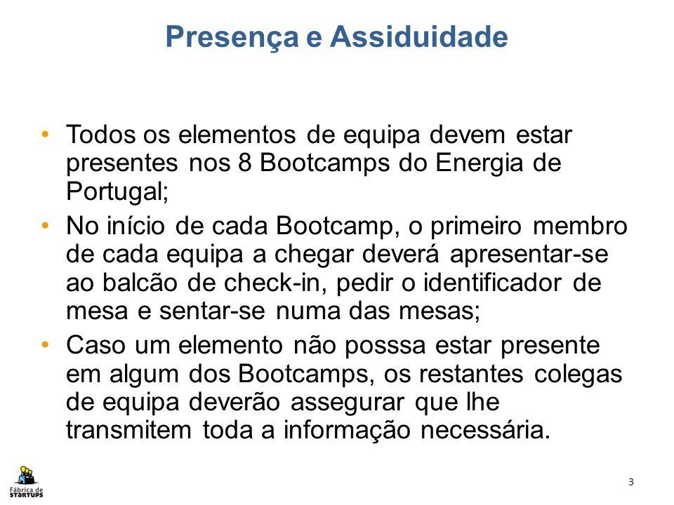 Presença e Assiduidade Todos os elementos de equipa devem estar presentes nos 8 Bootcamps do Energia de Portugal; No início de cada Bootcamp, o primei