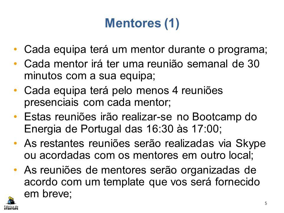 Mentores (1) Cada equipa terá um mentor durante o programa; Cada mentor irá ter uma reunião semanal de 30 minutos com a sua equipa; Cada equipa terá p