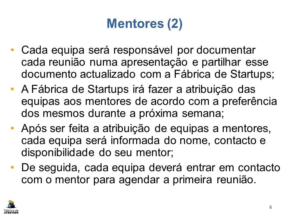 Cada equipa será responsável por documentar cada reunião numa apresentação e partilhar esse documento actualizado com a Fábrica de Startups; A Fábrica