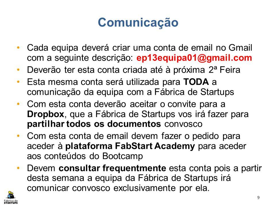 Comunicação Cada equipa deverá criar uma conta de email no Gmail com a seguinte descrição: ep13equipa01@gmail.com Deverão ter esta conta criada até à
