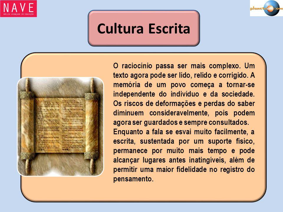 Cultura Escrita O raciocínio passa ser mais complexo. Um texto agora pode ser lido, relido e corrigido. A memória de um povo começa a tornar-se indepe