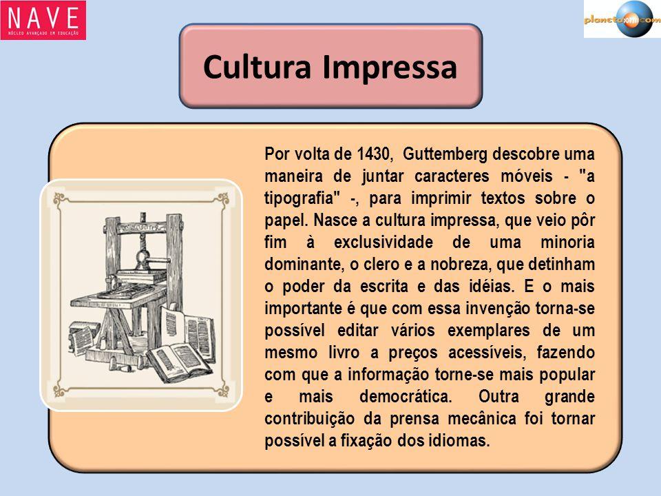Cultura Impressa Por volta de 1430, Guttemberg descobre uma maneira de juntar caracteres móveis -