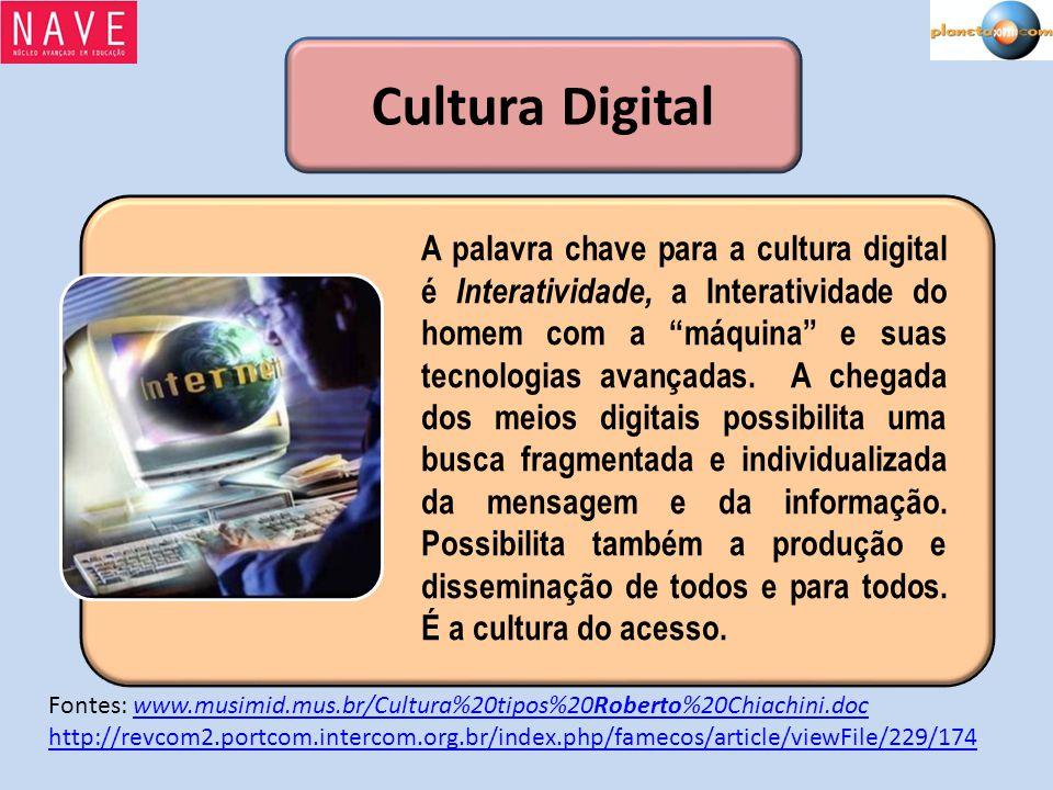 Cultura Digital A palavra chave para a cultura digital é Interatividade, a Interatividade do homem com a máquina e suas tecnologias avançadas. A chega
