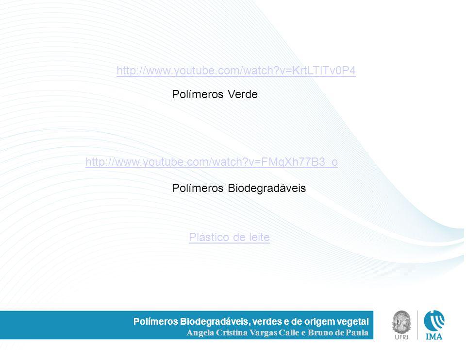 Polímeros Biodegradáveis, verdes e de origem vegetal Angela Cristina Vargas Calle e Bruno de Paula http://www.youtube.com/watch?v=KrtLTlTv0P4 Polímero