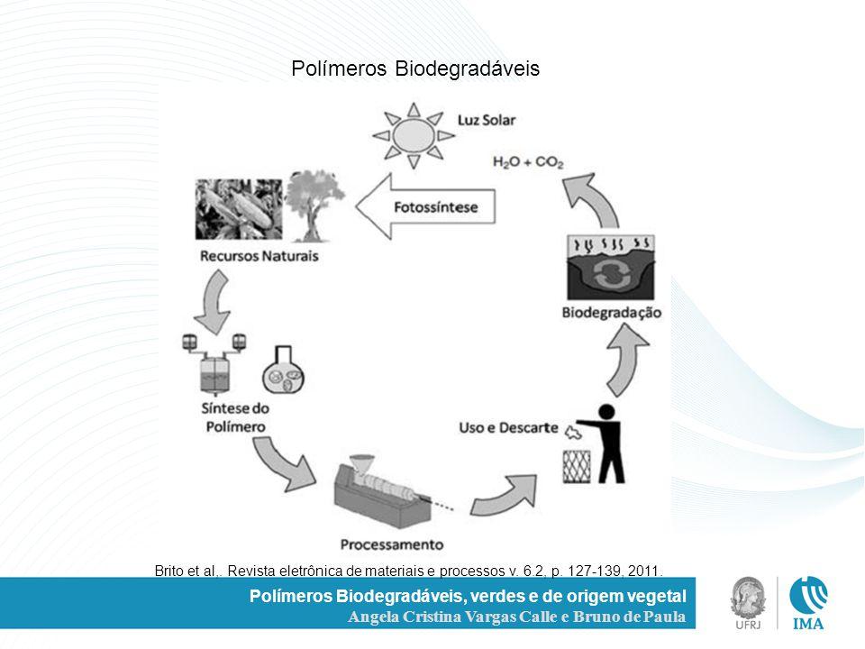 Polímeros Biodegradáveis, verdes e de origem vegetal Angela Cristina Vargas Calle e Bruno de Paula Polímeros Biodegradáveis Brito et al,. Revista elet