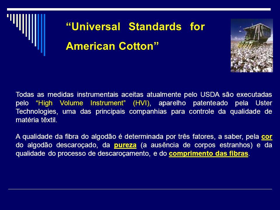 Universal Standards for American Cotton Todas as medidas instrumentais aceitas atualmente pelo USDA são executadas pelo High Volume Instrument (HVI),
