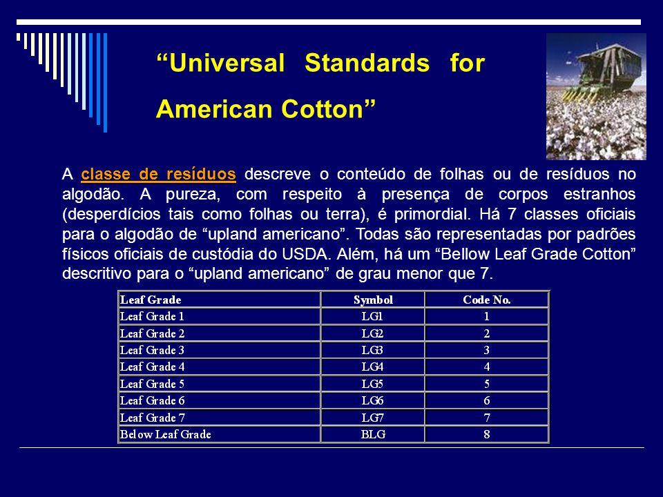classe de resíduos A classe de resíduos descreve o conteúdo de folhas ou de resíduos no algodão. A pureza, com respeito à presença de corpos estranhos