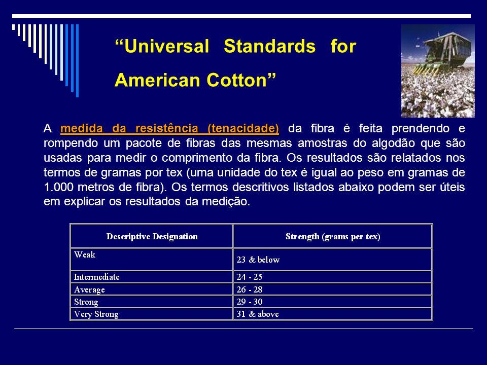 Universal Standards for American Cotton medida da resistência (tenacidade) A medida da resistência (tenacidade) da fibra é feita prendendo e rompendo