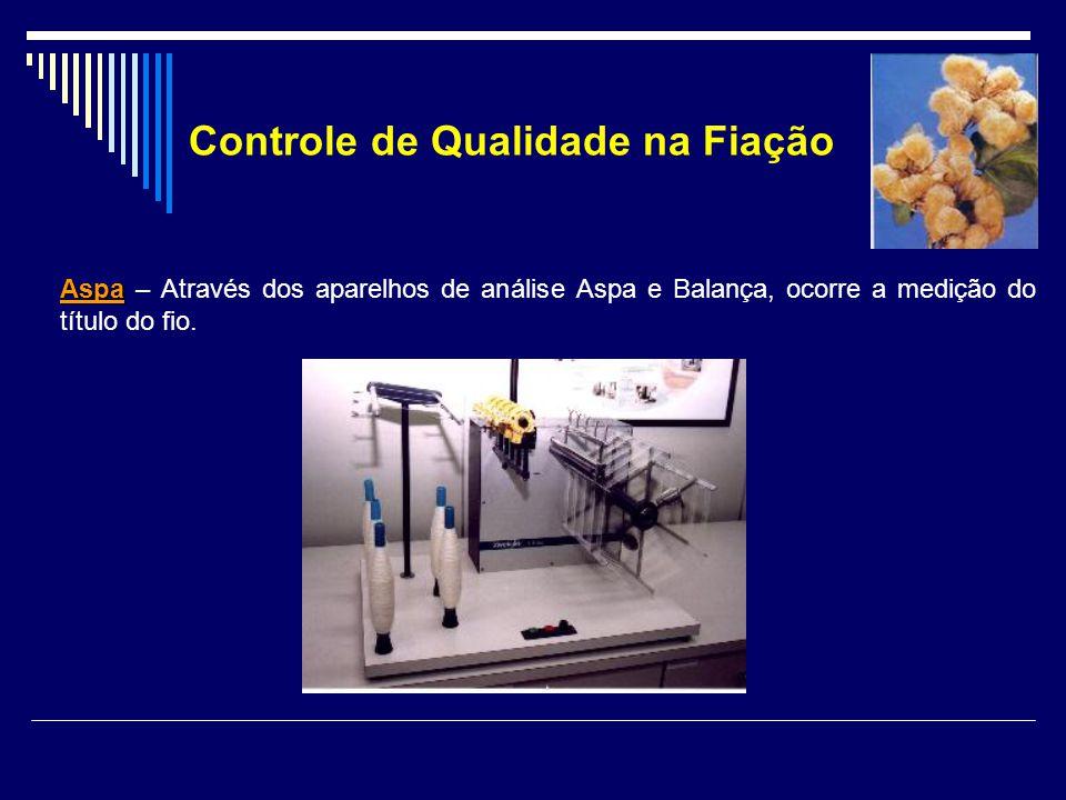 Aspa Aspa – Através dos aparelhos de análise Aspa e Balança, ocorre a medição do título do fio. Controle de Qualidade na Fiação