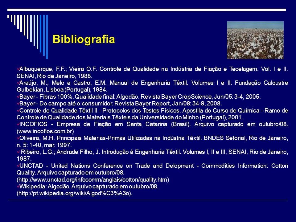 Albuquerque, F.F.; Vieira O.F. Controle de Qualidade na Indústria de Fiação e Tecelagem. Vol. I e II. SENAI, Rio de Janeiro, 1988. Araújo, M.; Melo e