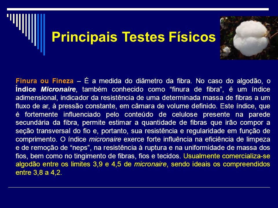 Principais Testes Físicos Finura ou Fineza – É a medida do diâmetro da fibra. No caso do algodão, o Índice Micronaire, também conhecido como finura de