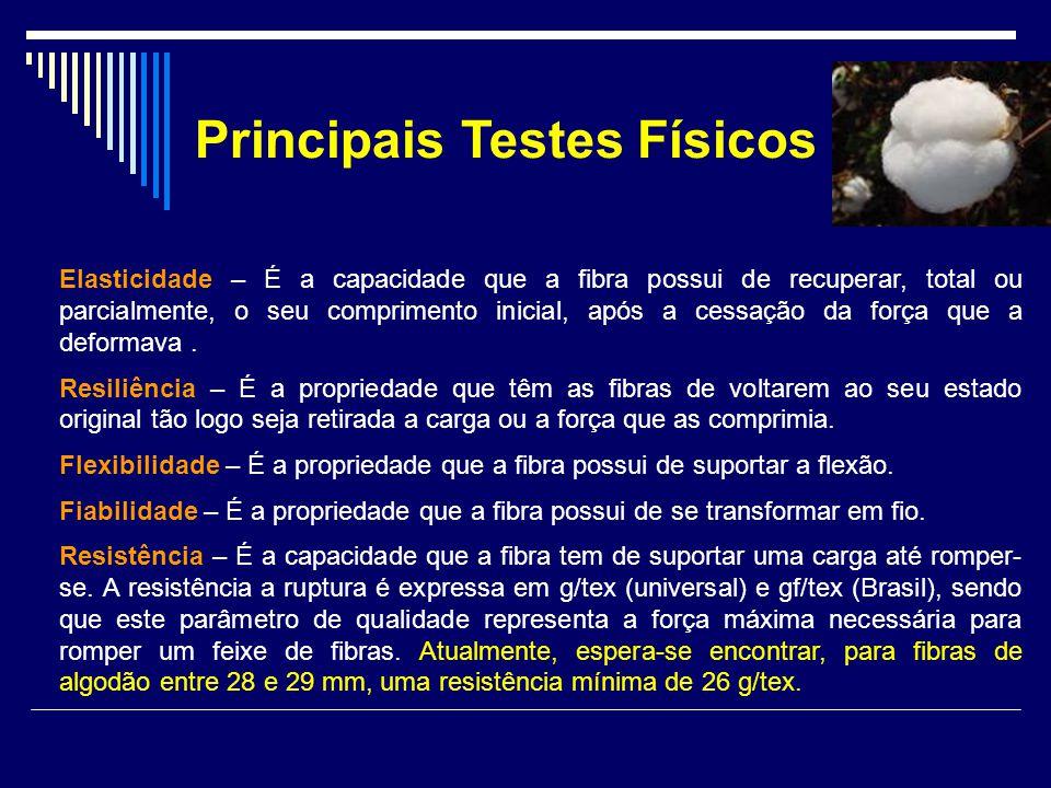 Principais Testes Físicos Elasticidade – É a capacidade que a fibra possui de recuperar, total ou parcialmente, o seu comprimento inicial, após a cess