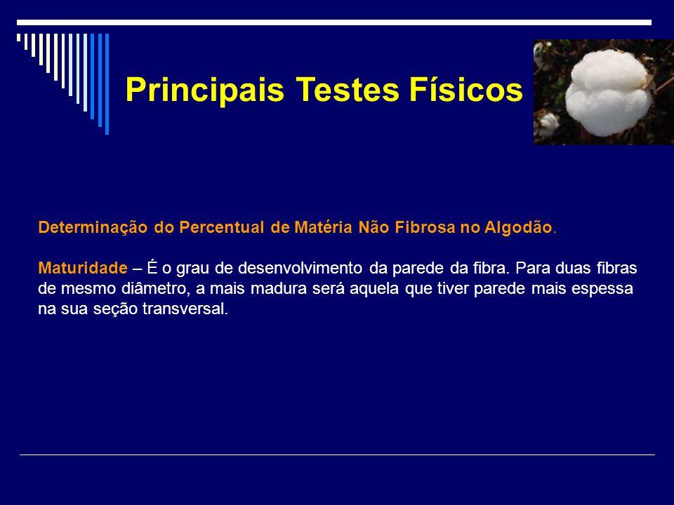 Principais Testes Físicos Determinação do Percentual de Matéria Não Fibrosa no Algodão. Maturidade – É o grau de desenvolvimento da parede da fibra. P