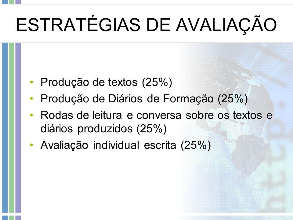 ESTRATÉGIAS DE AVALIAÇÃO Produção de textos (25%) Produção de Diários de Formação (25%) Rodas de leitura e conversa sobre os textos e diários produzidos (25%) Avaliação individual escrita (25%)