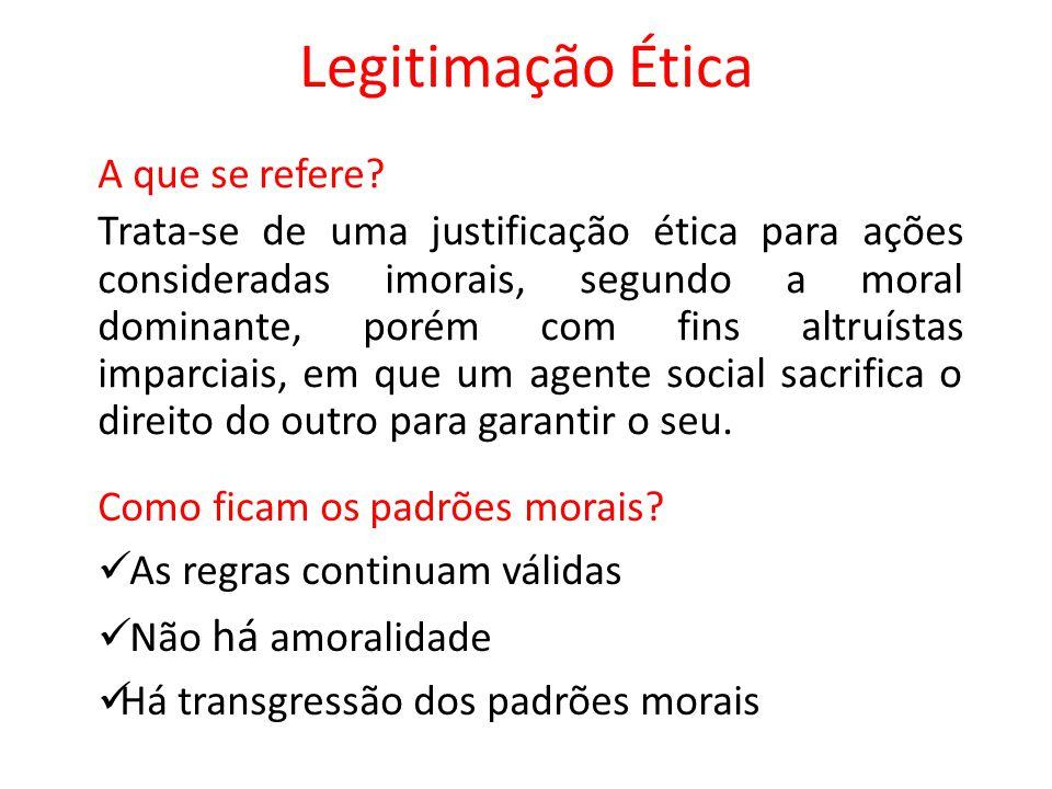 Legitimação Ética Como se caracteriza o contexto.
