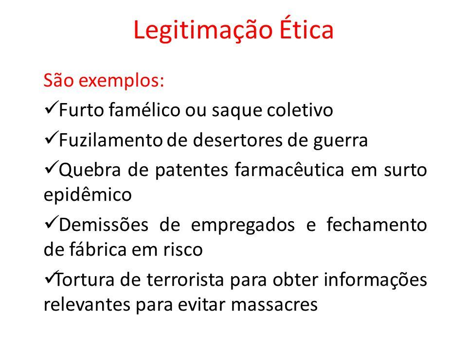 Legitimação Ética São exemplos: Furto famélico ou saque coletivo Fuzilamento de desertores de guerra Quebra de patentes farmacêutica em surto epidêmic