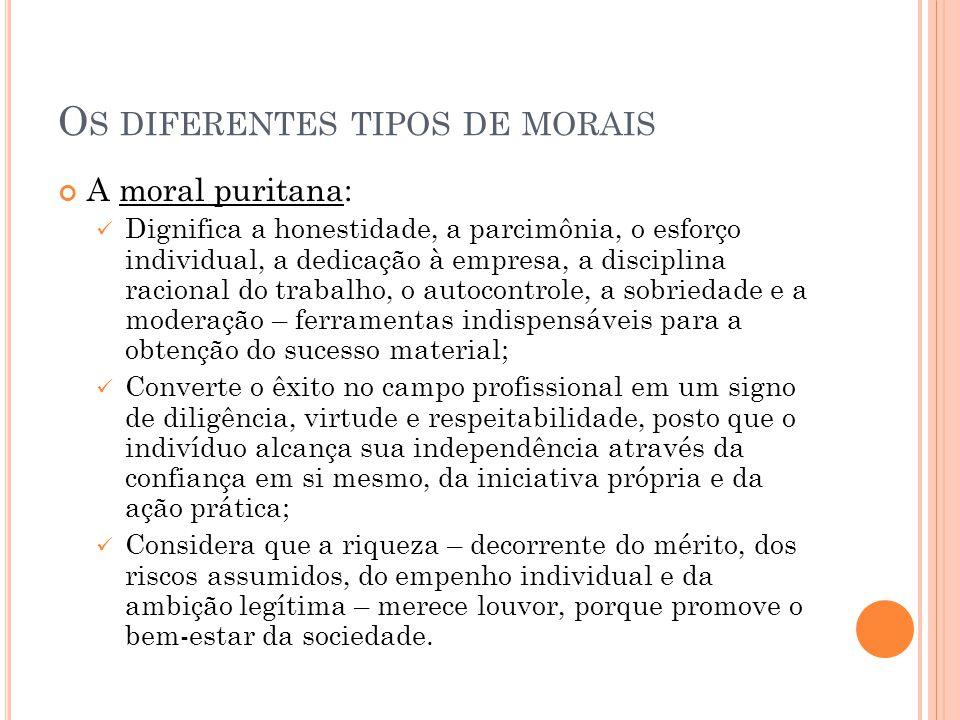 O S DIFERENTES TIPOS DE MORAIS A moral puritana: Dignifica a honestidade, a parcimônia, o esforço individual, a dedicação à empresa, a disciplina raci