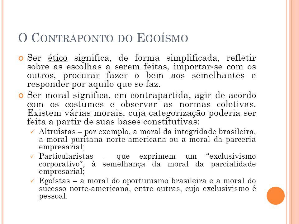 O C ONTRAPONTO DO E GOÍSMO O que é ser altruísta.