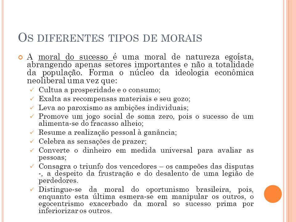 O S DIFERENTES TIPOS DE MORAIS A moral do sucesso é uma moral de natureza egoísta, abrangendo apenas setores importantes e não a totalidade da populaç