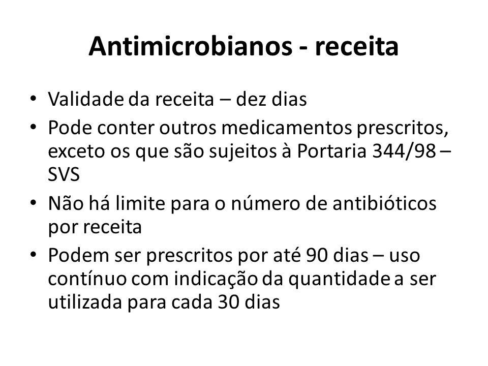 Antimicrobianos - receita Validade da receita – dez dias Pode conter outros medicamentos prescritos, exceto os que são sujeitos à Portaria 344/98 – SV