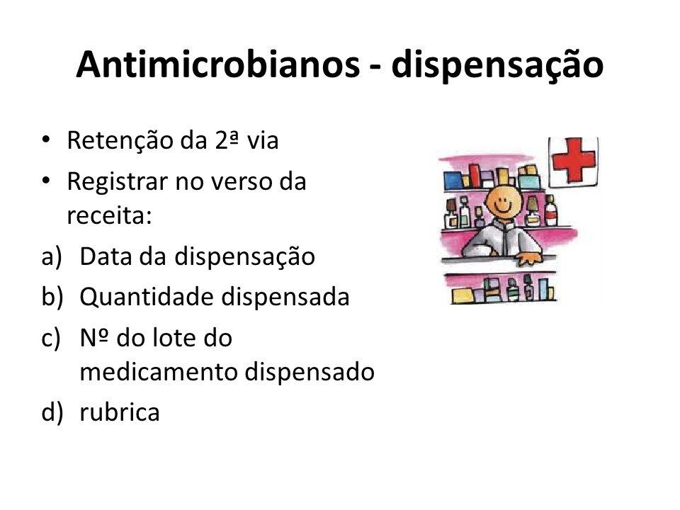 Antimicrobianos - dispensação Retenção da 2ª via Registrar no verso da receita: a)Data da dispensação b)Quantidade dispensada c)Nº do lote do medicame