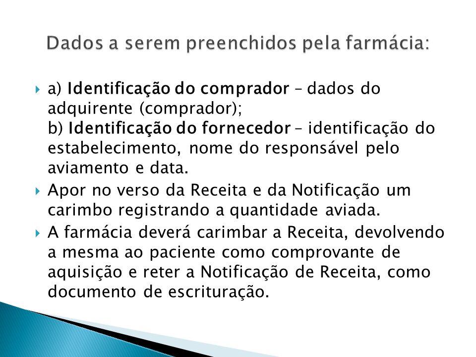 a) Identificação do comprador – dados do adquirente (comprador); b) Identificação do fornecedor – identificação do estabelecimento, nome do responsáve