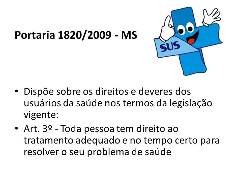 Portaria 1820/2009 - MS Dispõe sobre os direitos e deveres dos usuários da saúde nos termos da legislação vigente: Art. 3º - Toda pessoa tem direito a