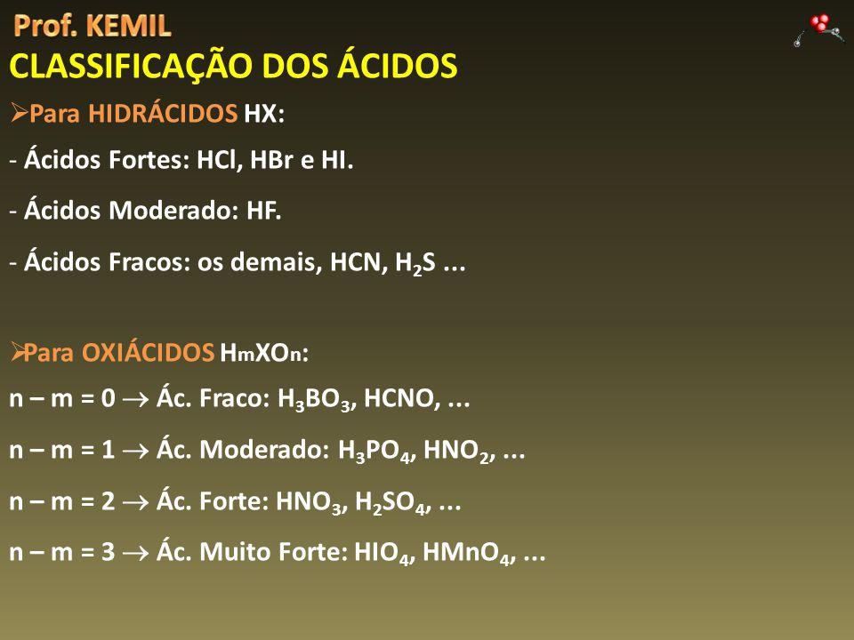 Para HIDRÁCIDOS HX: - Ácidos Fortes: HCl, HBr e HI.