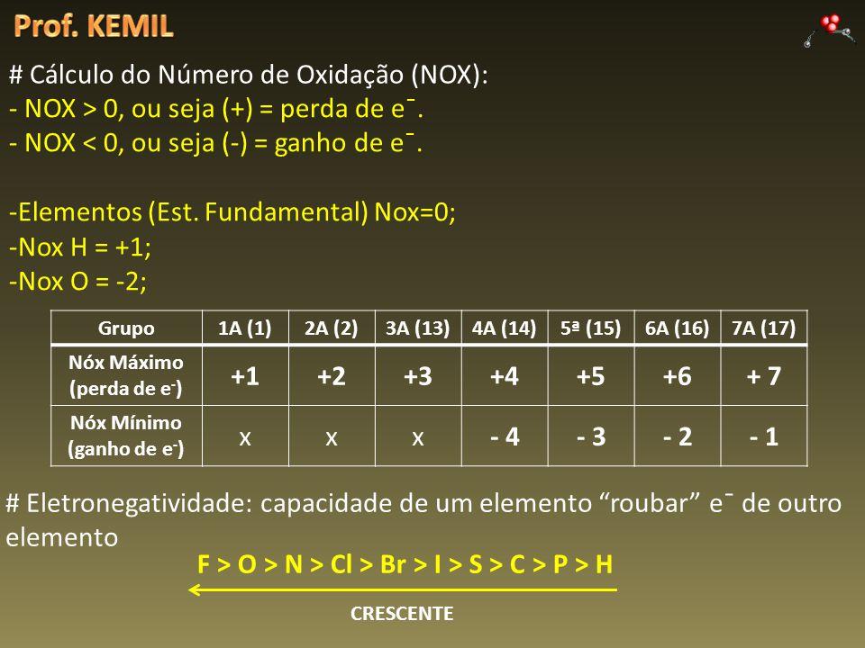 # Cálculo do Número de Oxidação (NOX): - NOX > 0, ou seja (+) = perda de e¯. - NOX < 0, ou seja (-) = ganho de e¯. -Elementos (Est. Fundamental) Nox=0