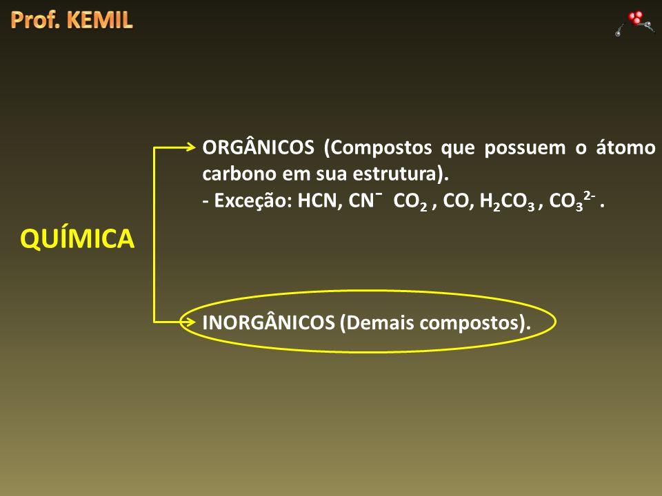 QUÍMICA ORGÂNICOS (Compostos que possuem o átomo carbono em sua estrutura). - Exceção: HCN, CN¯ CO 2, CO, H 2 CO 3, CO 3 2-. INORGÂNICOS (Demais compo