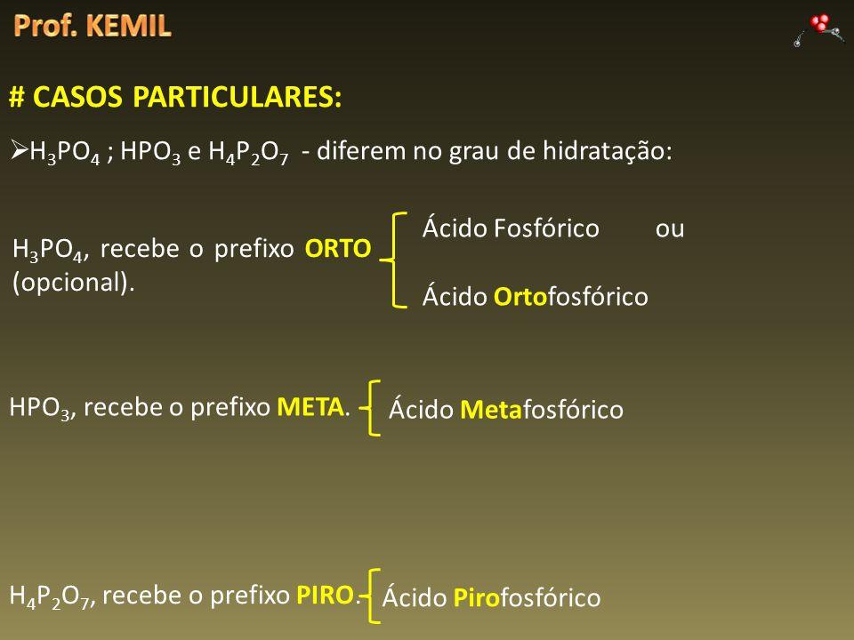 # CASOS PARTICULARES: H 3 PO 4 ; HPO 3 e H 4 P 2 O 7 - diferem no grau de hidratação: H 3 PO 4, recebe o prefixo ORTO (opcional). HPO 3, recebe o pref