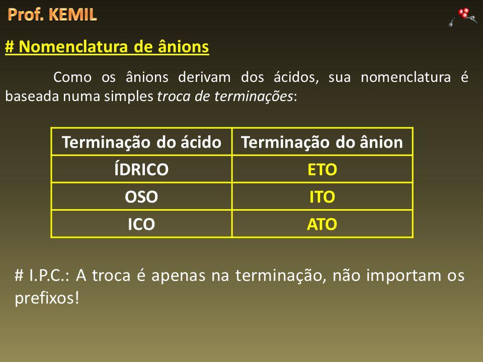 # Nomenclatura de ânions Como os ânions derivam dos ácidos, sua nomenclatura é baseada numa simples troca de terminações: Terminação do ácidoTerminaçã