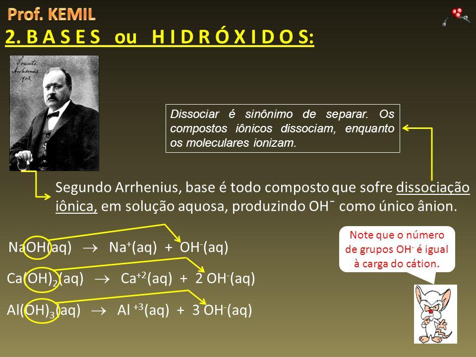 2. B A S E S ou H I D R Ó X I D O S: Segundo Arrhenius, base é todo composto que sofre dissociação iônica, em solução aquosa, produzindo OH¯ como únic
