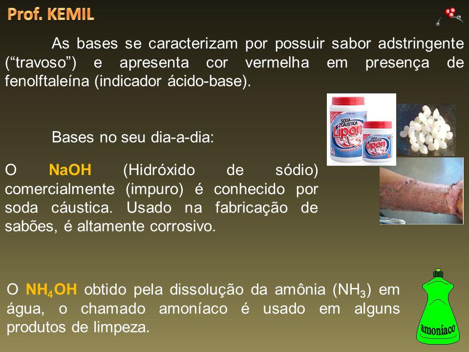 As bases se caracterizam por possuir sabor adstringente (travoso) e apresenta cor vermelha em presença de fenolftaleína (indicador ácido-base). Bases