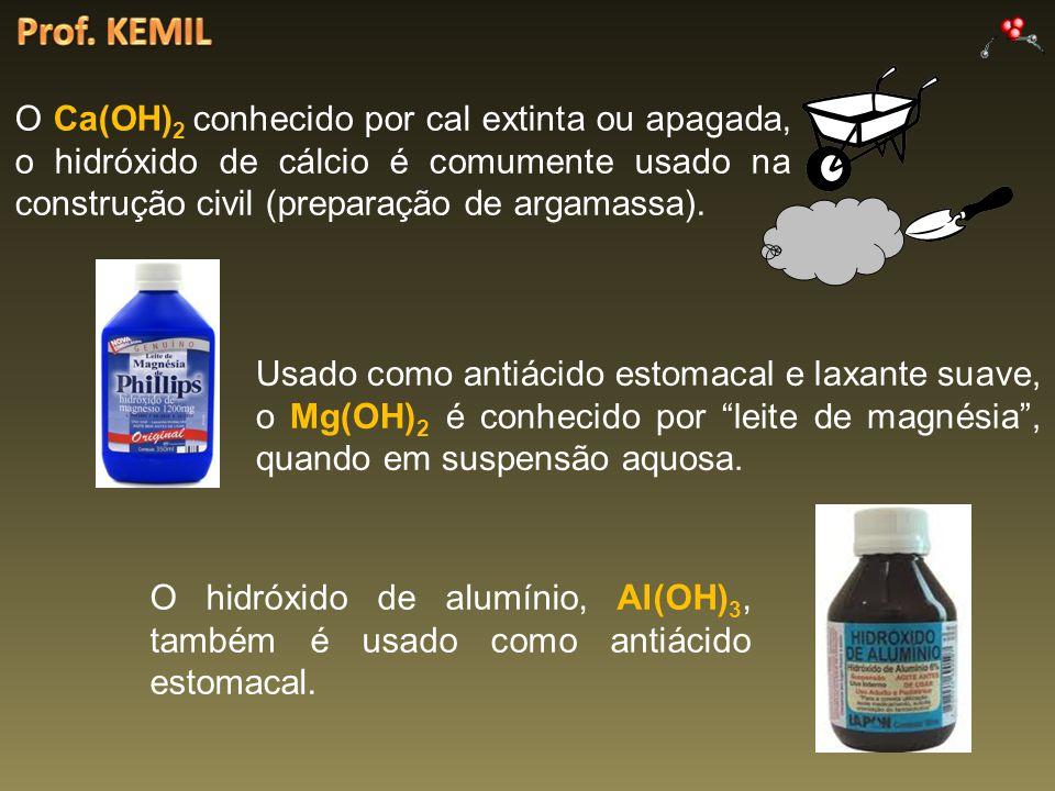 O Ca(OH) 2 conhecido por cal extinta ou apagada, o hidróxido de cálcio é comumente usado na construção civil (preparação de argamassa). Usado como ant