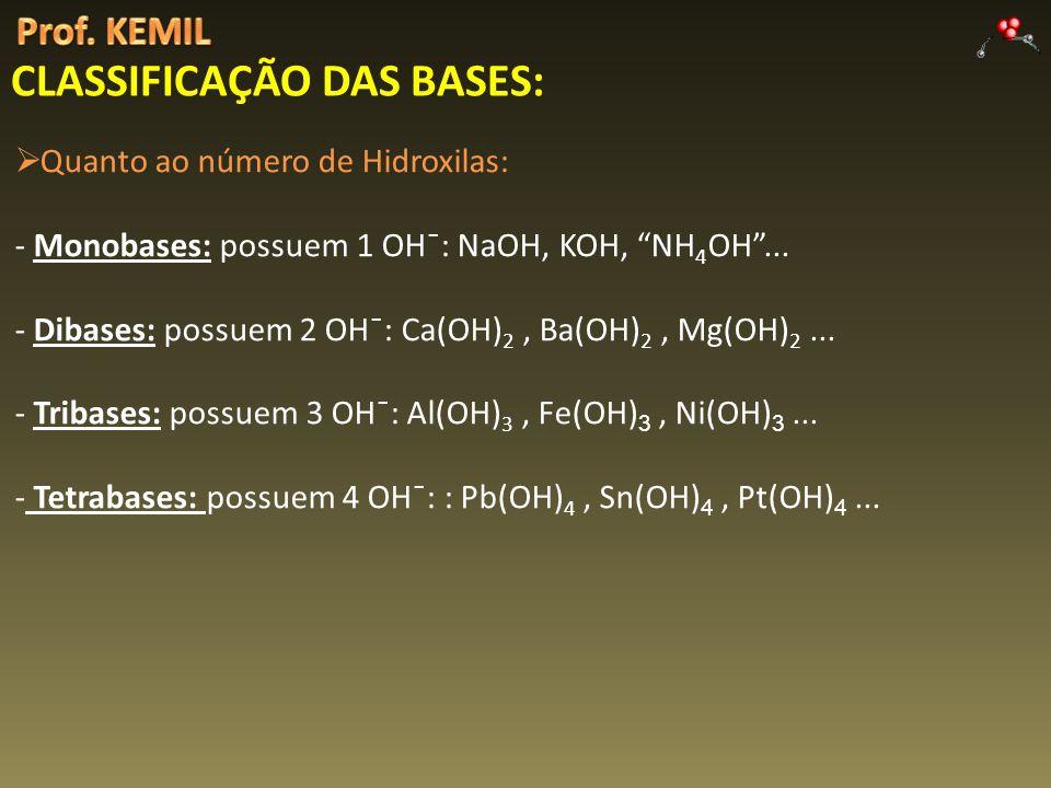 Quanto ao número de Hidroxilas: - Monobases: possuem 1 OH¯: NaOH, KOH, NH 4 OH... - Dibases: possuem 2 OH¯: Ca(OH) 2, Ba(OH) 2, Mg(OH) 2... - Tribases