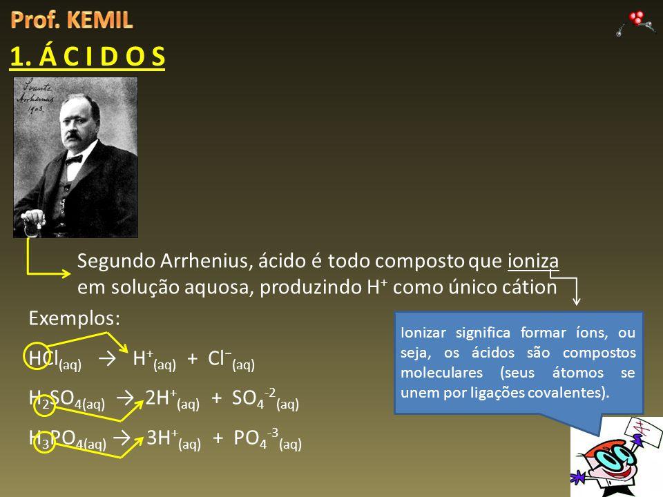 1. Á C I D O S Segundo Arrhenius, ácido é todo composto que ioniza em solução aquosa, produzindo H + como único cátion Ionizar significa formar íons,