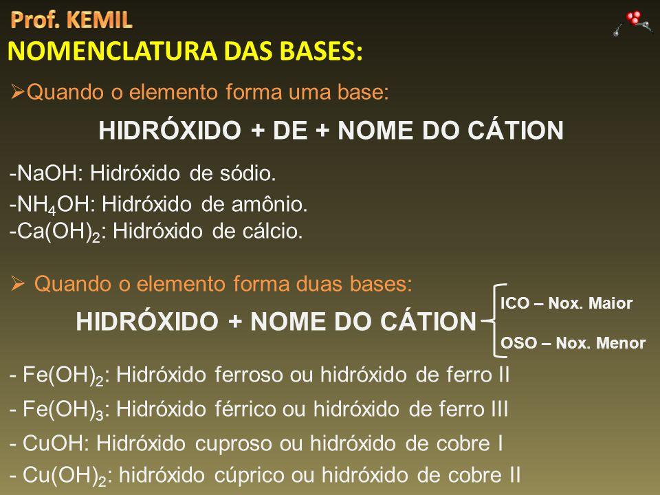 NOMENCLATURA DAS BASES: Quando o elemento forma uma base: HIDRÓXIDO + DE + NOME DO CÁTION -NaOH: Hidróxido de sódio. -NH 4 OH: Hidróxido de amônio. -C