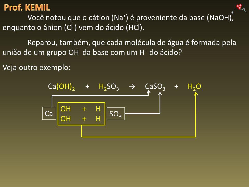 Você notou que o cátion (Na + ) é proveniente da base (NaOH), enquanto o ânion (Cl - ) vem do ácido (HCl). Reparou, também, que cada molécula de água