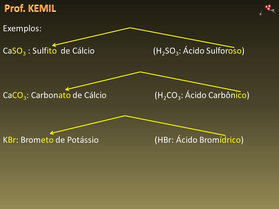 Exemplos: CaSO 3 : Sulfito de Cálcio (H 2 SO 3 : Ácido Sulforoso) CaCO 3 : Carbonato de Cálcio (H 2 CO 3 : Ácido Carbônico) KBr: Brometo de Potássio (HBr: Ácido Bromídrico)