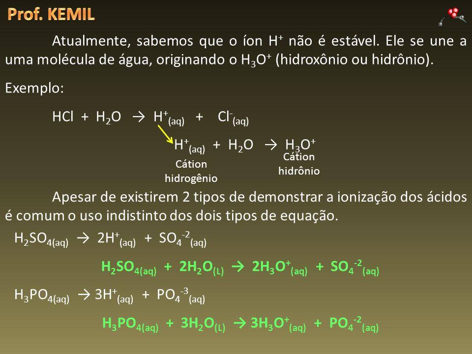 Atualmente, sabemos que o íon H + não é estável. Ele se une a uma molécula de água, originando o H 3 O + (hidroxônio ou hidrônio). Exemplo: HCl + H 2