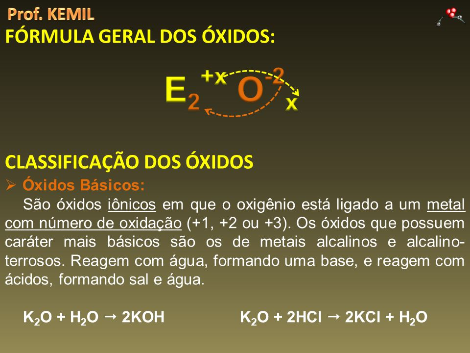 FÓRMULA GERAL DOS ÓXIDOS: CLASSIFICAÇÃO DOS ÓXIDOS Óxidos Básicos: São óxidos iônicos em que o oxigênio está ligado a um metal com número de oxidação (+1, +2 ou +3).