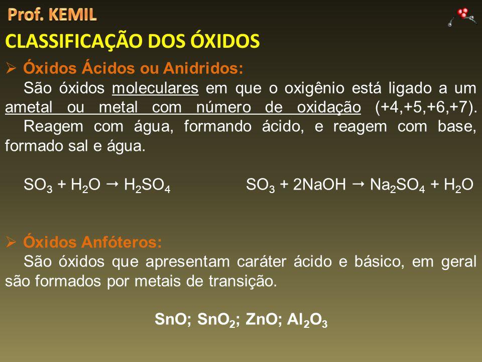 CLASSIFICAÇÃO DOS ÓXIDOS Óxidos Ácidos ou Anidridos: São óxidos moleculares em que o oxigênio está ligado a um ametal ou metal com número de oxidação (+4,+5,+6,+7).